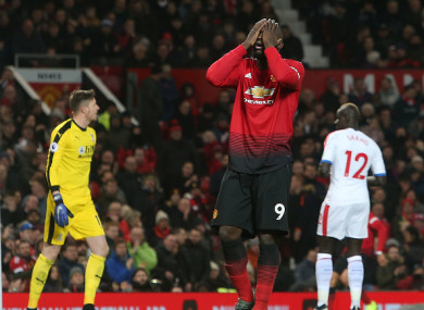 Lukaku reacts to a missed chance.