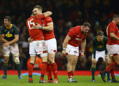 Liam Williams and George North celebrates at full-time.