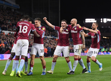 Villa celebrate Anwar El Ghazi's goal.