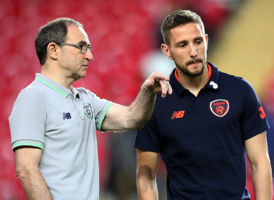 Conor Hourihane (right) pictured with Martin O'Neill before the game against Turkey in March.