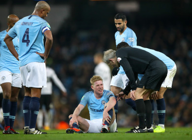 Kevin de Bruyne picked up a knee injury earlier this season and it kept him out of 10 games.
