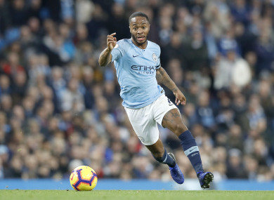 Raheem Sterling in action for Man City earlier this month.
