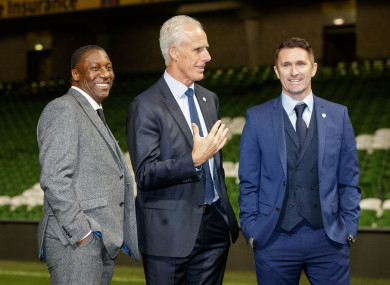 Newly appointed Republic of Ireland manager Mick McCarthy with his assistant Terry Connor and coach Robbie Keane.