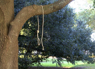 A noose hangs on a tree on the state capitol grounds in Jackson, Mississippi
