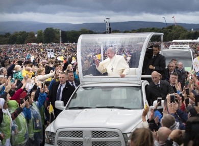 Pope Francis arriving at the Phoenix Park during the visit.