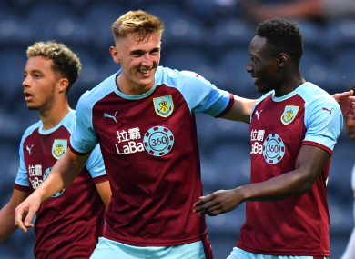 Dunne celebrates scoring for Burnley during a pre-season friendly in July.
