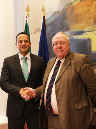 Leo Varadkar with the Grand Secretary of the Orange Lodge, Reverend Mervyn Gibson at Government Building in Dublin.