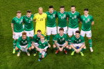 The Irish team line up prior to tonight's friendly.