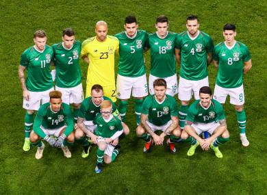 The Irish team line up prior to tonight's friendly.