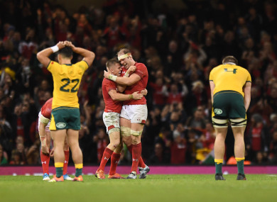 Gareth Anscombe (left) and Alun Wyn Jones celebrate a long-awaited win over the Wallabies.