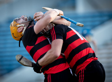 Wayne Hutchinson celebrates Ballygunner's victory with Barry O'Sullivan.