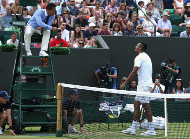 The Australian argues with an umpire at Wimbledon last summer.