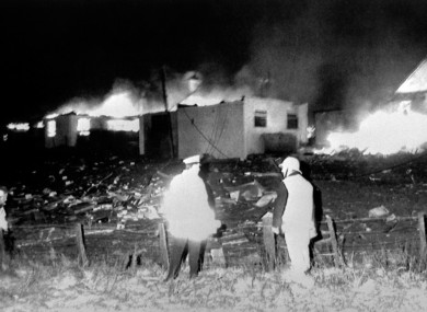 Houses on fire after downed plane crashed in Lockerbie on 21 December 1988.