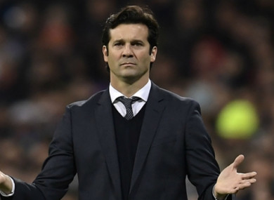 Santiago Solari pictured during tonight's match.