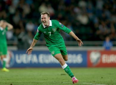 Ireland's Aiden McGeady celebrates scoring against Georgia in a Euro 2016 qualifier.