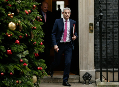 Brexit Secretary Stephen Barclay leaves 10 Downing Street after the last cabinet meeting before Christmas.