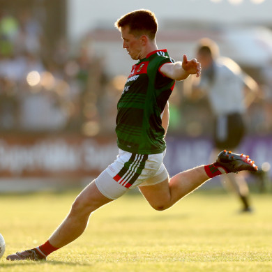 Cillian O'Connor in action for Mayo in Newbridge in June.