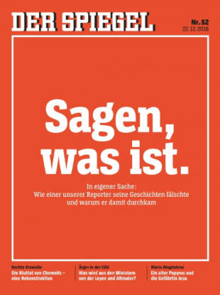 The magazine's front page ran with the tagline: 'How one of our reporters falsified his stories and why he got away with it'.