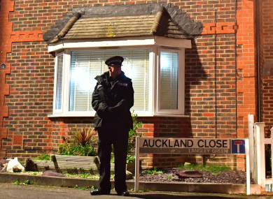 Police searched a house yesterday in Crawley, near Gatwick