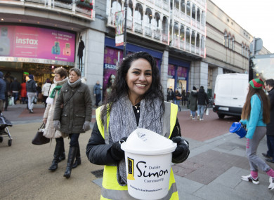 Karla Trombley from Mexico helping the Simon Community charity collect money for the homeless