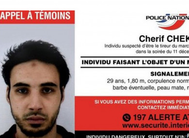 A wanted poster for Cherif Chekatt, the suspected killer in the Strasbourg attack.