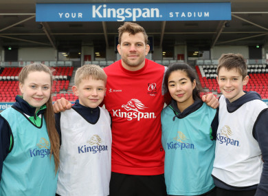 Kingspan competition winners enjoyed a coaching masterclass with Ulster Rugby Head Coach, Dan McFarland as well as star players, Louis Ludik and Jordi Murphy, above, yesterday.