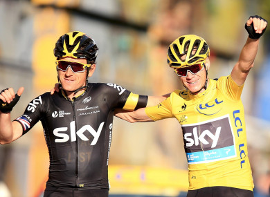 Team Sky riders Geraint Thomas and Chris Froome (file pic).