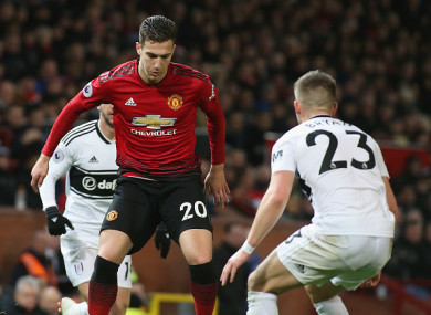 Dalot in action against Fulham on Saturday.