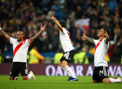 River Plate players celebrate their thrilling victory.