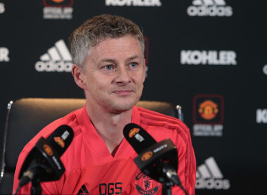 The caretaker manager during today's press conference at Carrington.