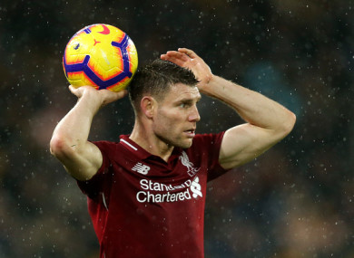 Milner picked up the injury against Wolves.