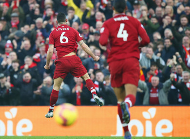 Lovren celebrates his goal against Newcastle.