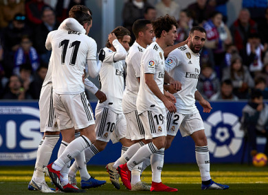 Bale celebrates his match-winning goal.
