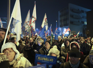 Protesters during a rally this evening in Budapest