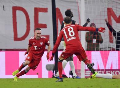 Late, late show: Ribery celebrates.
