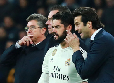 Isco and Real Madrid coach Santiago Solari.