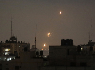 File photo of rockets fired by Palestinian militants are seen over Gaza Strip.