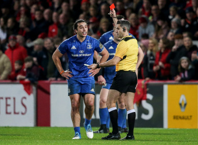 Referee Frank Murphy sends off Leinster's James Lowe.