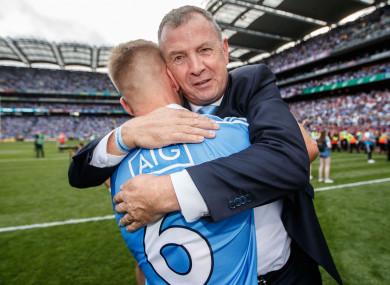 John Costello celebrating Dublin's All-Ireland final victory over Tyrone with Jonny Cooper.