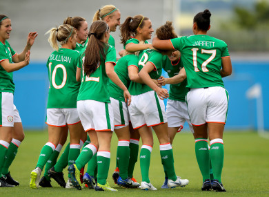 Ireland players celebrating a Leanne Kiernan goal in their World Cup qualifier against Northern Ireland earlier this year.