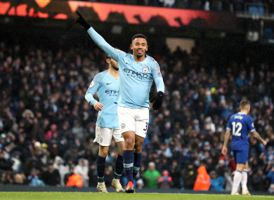 Gabriel Jesus struck either side of the break for Manchester City.
