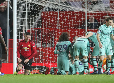 Arsenal's Alexandre Lacazette celebrates scoring.