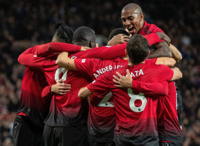 Romelu Lukaku celebrates with team-mates after scoring against Fulham.