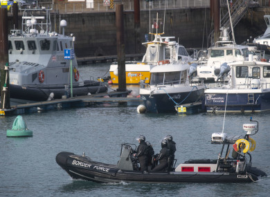A UK Border Force RIB on patrol in Dover Harbour.