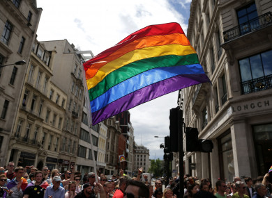 A rainbow flag during London's pride parade.