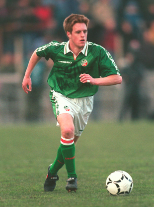 Alan Maybury pictured on his senior debut for the Republic of Ireland in March 1998.
