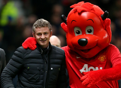 Solskjaer returns to Old Trafford while in charge of Cardiff in 2014.