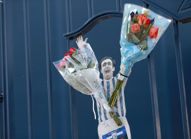 Tributes to the late Jeff Astle left on the gates at The Hawthorns.
