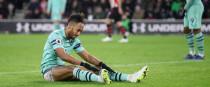 Arsenal's Pierre-Emerick Aubameyang appears dejected.