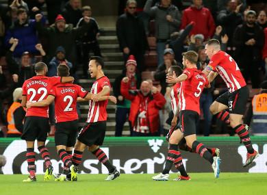 Southampton players celebrate a goal.